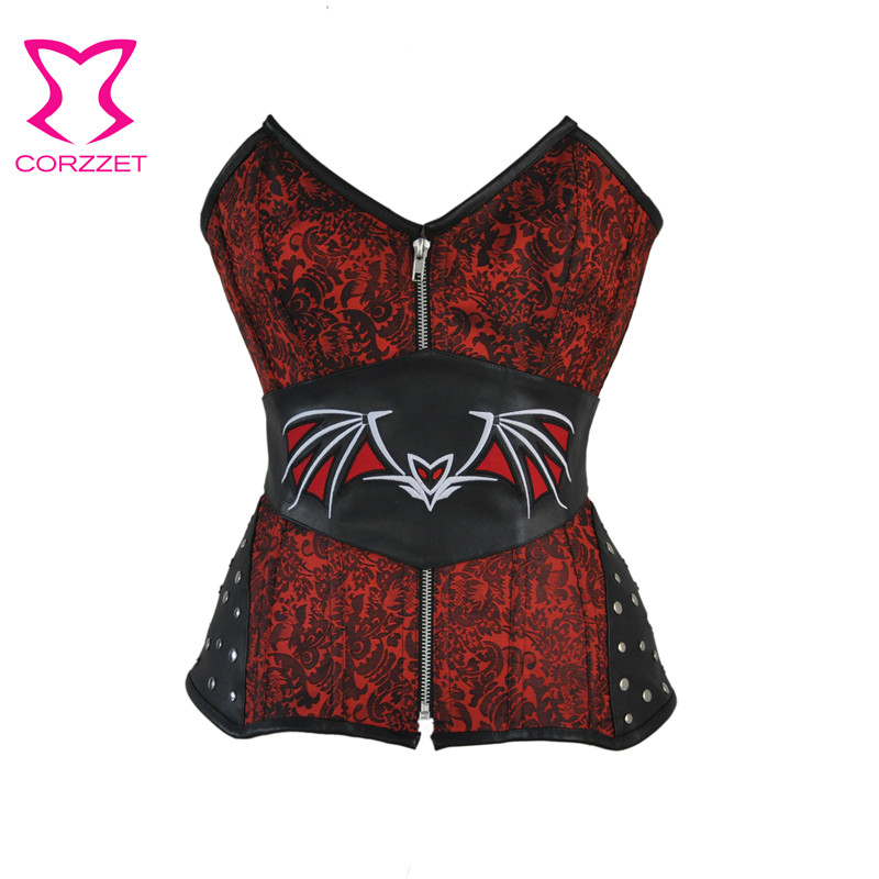 Corzzet Steampunk Red Jacquard Black Leather Batman belt Front Zipper Rivet Overbust Sexy   Corset   Top Burlesque   Bustier     Corsets