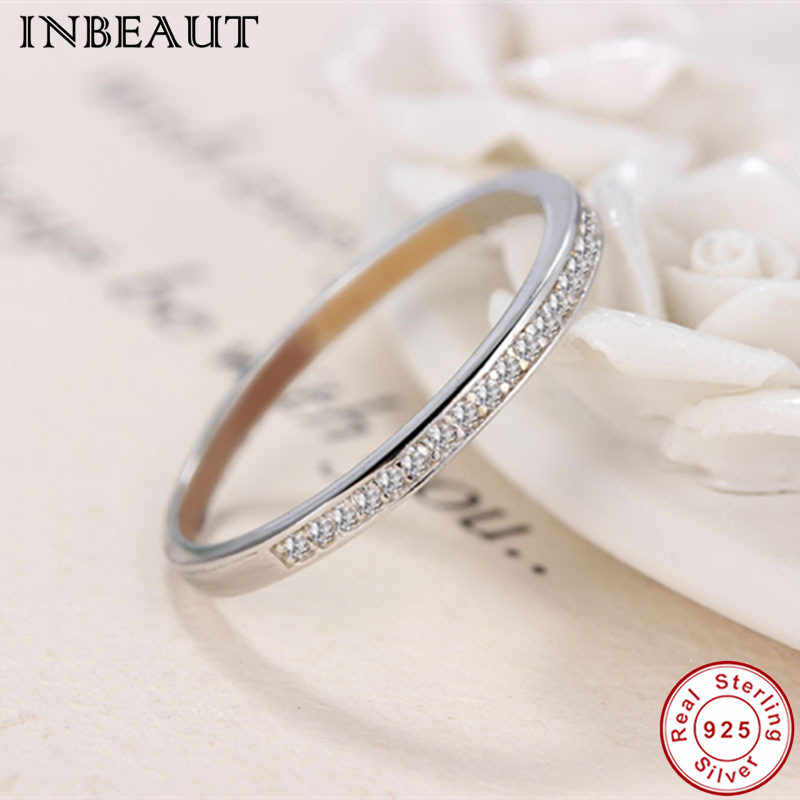 INBEAUT 925 Sterling Silver Clear Zircon Ring Women Trendy Cute Lovely Cocktail Ring for Female Wedding Gift Fashion Jewelry