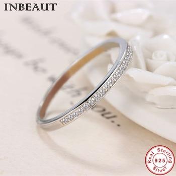 41fc0c7d6d7e INBEAUT de Plata de Ley 925 claro anillo de circón de moda mujeres lindo  anillo de cóctel para mujer regalo de boda de joyería de moda