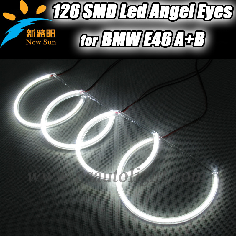 Led Angel Eyes / Halo Ring Halo Light 2 x131MM and 2*145MM Ultra White For BMW E46 Non projector , Angel Eyes headlight for BMW led rings white 3014 smd led angel eyes headlight halo ring marker 131mm 145mm for bmw e46 non projector