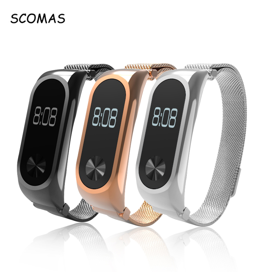SCOMAS Metal Strap For Xiaomi Mi Band 2 Magnetic Stainless Steel Milanese Loop Bracelet Watch Band For Mi Band 2 cindiry milanese loop strap for xiaomi mi band 2 screwless stainless steel bracelet watch band replace accessories for band p15