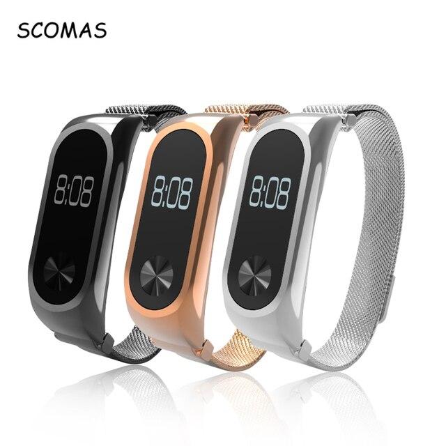 SCOMAS металлический ремешок для Xiaomi mi группа 2 Магнитная Нержавеющая сталь браслет для mi Группа 2 Напульсники аксессуары для mi Группа 2