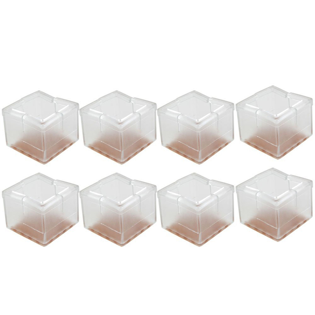 8pcs Square 40*40mm Silicone Chair Leg Caps Feet Pads Furniture Table  Covers Wood Floor