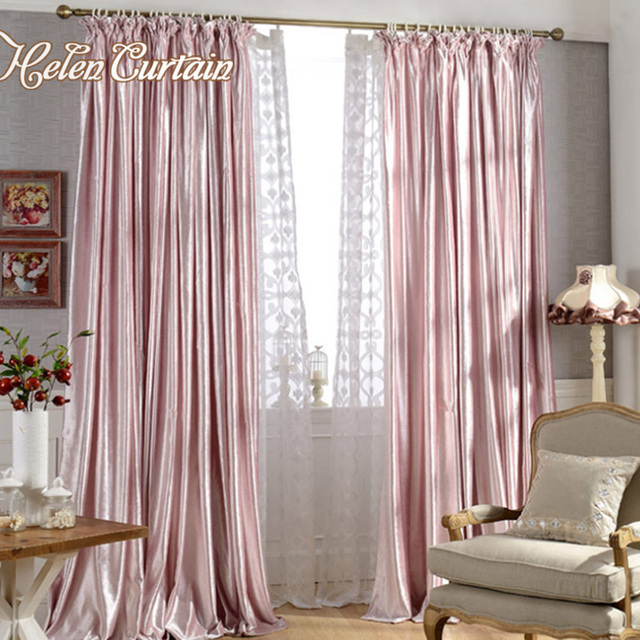 Thick Pink Velvet Curtains For Bedroom Girl Soft Curtain Blinds For