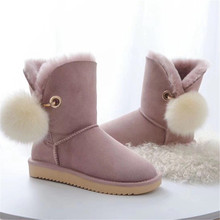 2020 Shoes Women Top Quality New Fashion 100% Genuine Sheepskin Leather Snow Boots Natural