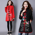 Ethnic Style Trench Coat Women Cotton Linen Coats Vintage Flora Coats Button Plus Size Black Winter Coats Pockets Outcoat