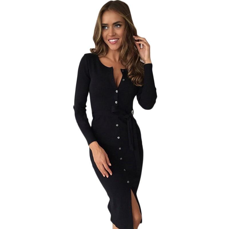 Knitting Midi Dress Solid Women Buttons Knitted O-neck Dresses Split Package Hip Sheath Bodycon Dress Vestidos
