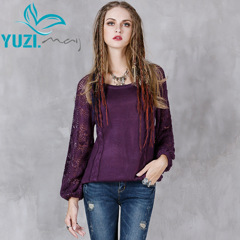 Sweater Women 2017 Yuzi.may Boho New Cotton Wool Pullover O Neck Hollow Out Lantern Sleeve Skin Friendly Pull Femme B9136-in Pullovers from Women's Clothing    1