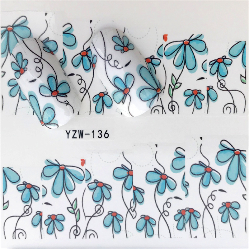 YZWLE 1pcs Water Gradient Blossom Flower Sticker For Nails Wraps Butterfly Flower Vine Designs Nail Art Decals