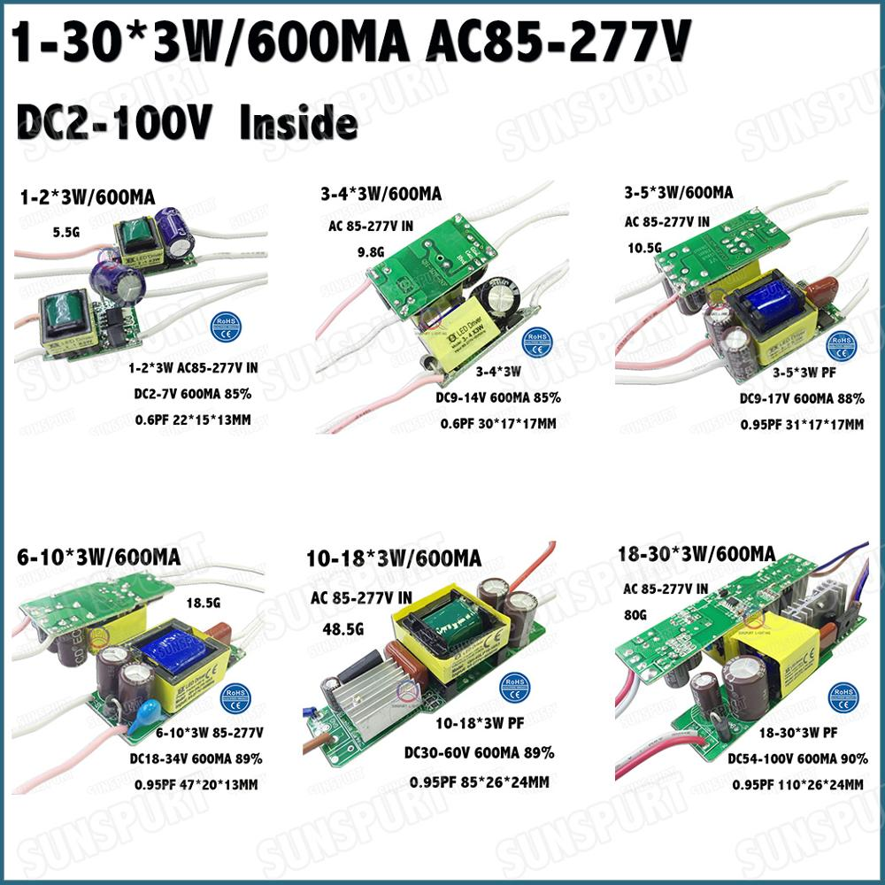 Inside 2-60W AC85-277V LED Driver 1-2x3W 2-4x3W 3-5x3W 6-10x3W 10-18x3W 18-30x3W 600mA DC2-105V Constant Current Free Shipping