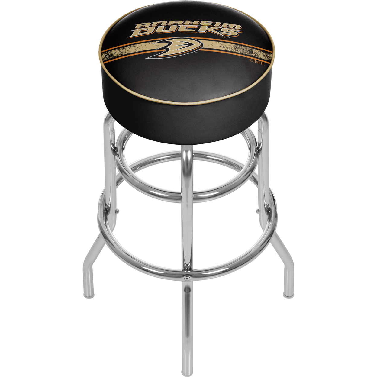 NHL Chrome 30 Inch Bar Stool with Swivel - Anaheim Ducks nhl chrome 42 inch pub table columbus blue jackets