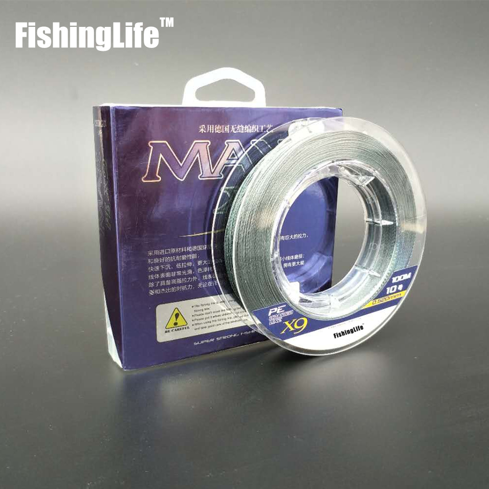 FishingLife 9 strand Multifilament PE Braided Fishing Line Freshwater and Saltwater Fishing FreeShipping100M10-15090605040LBGrey
