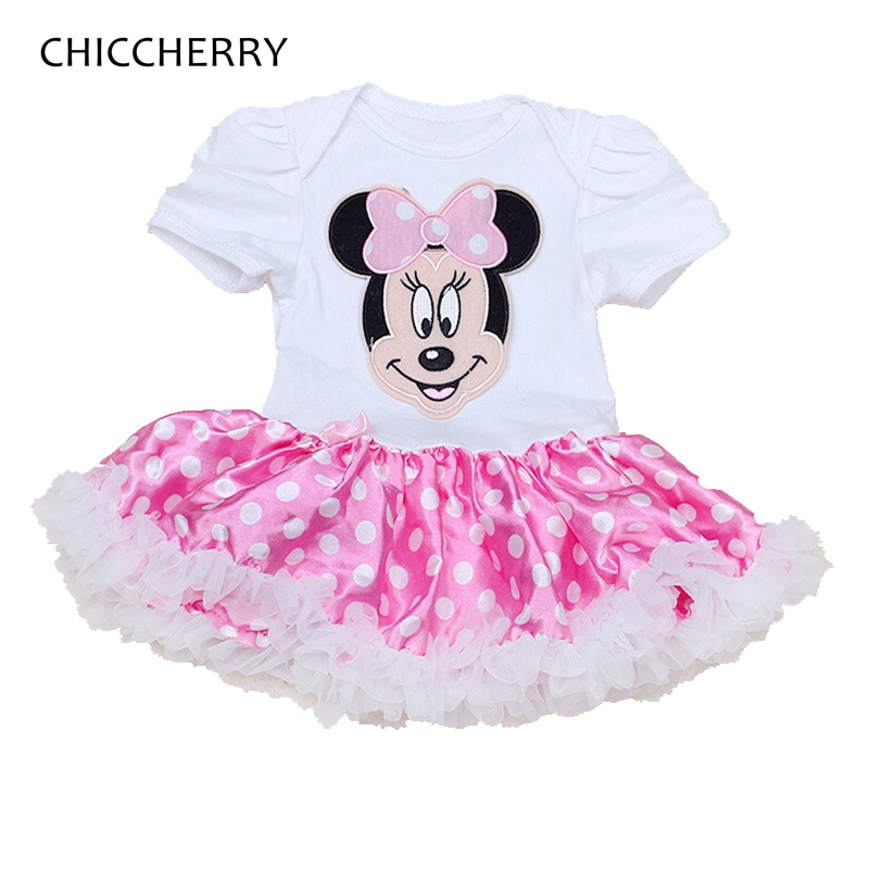 Minnie Applique Baby Birthday Outfits Polka Dots Baby Lace Tutu Dress Toddler Girl Party Dresses Vestido Bebe Infant Clothes