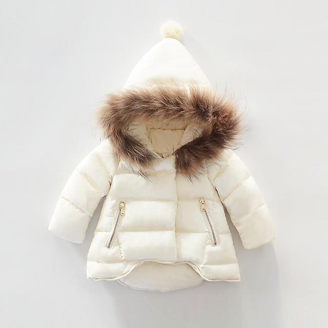 Niñas ropa de abrigo traje para la nieve de piel Natural gruesa chaquetas niña moda Casual abajo cubre 2016 invierno Cálido Abrigo con capucha infantil Abrigo
