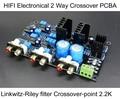 HIFI Электронные 2 Полосный Кроссовер PCBA ClassA Мощность Linkwitz-райли фильтр Выход 4-канальный Кроссовер-точка 2.2 К Гц бесплатная Доставка