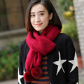 A thick warm winter outdoor scarf knitted scarf Korean lady ball winter wool scarf