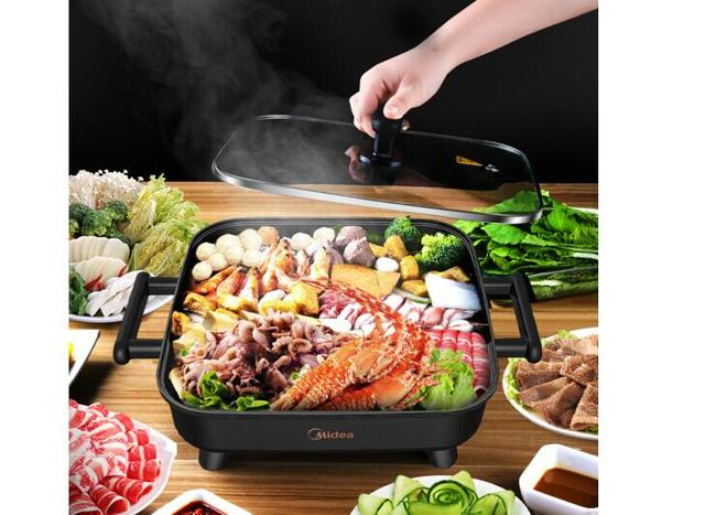 Midea Korean style Home Multifunction 6L Hot Pot Frying Machine Electric Stove Cooker Frying Grilled Fish Pan Fry braise stew 3