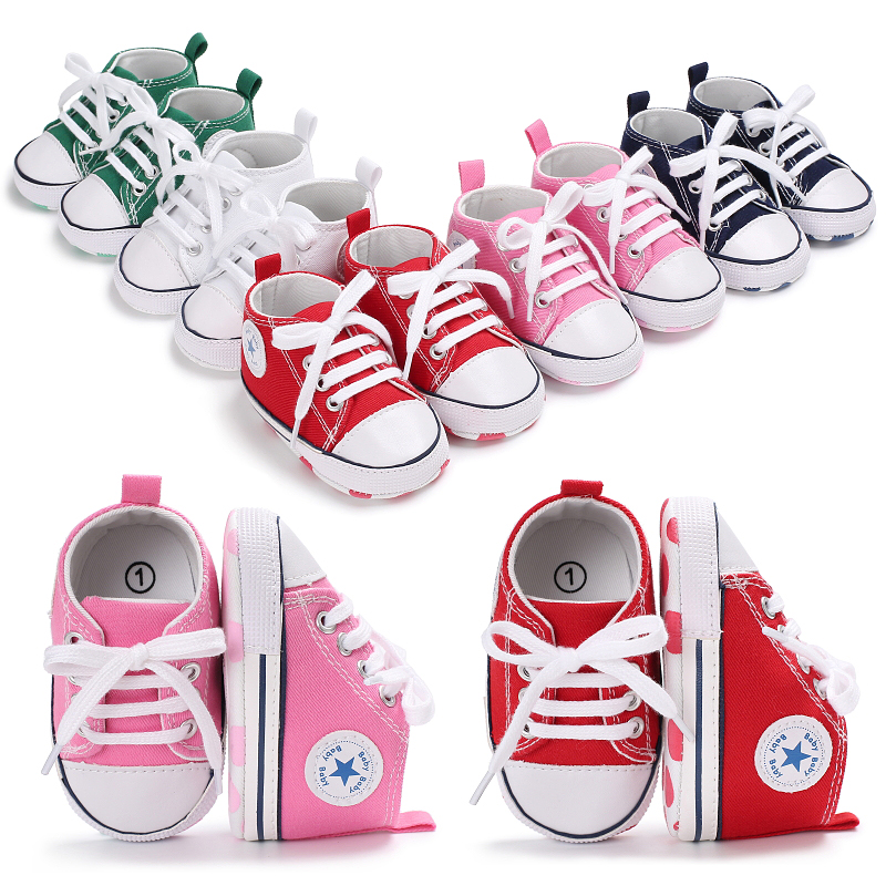 baby shoes canvas Newborn Baby Boys Girls First Walkers Shoes baby girl sneakers for indoor prewalking baby casual shoe title=