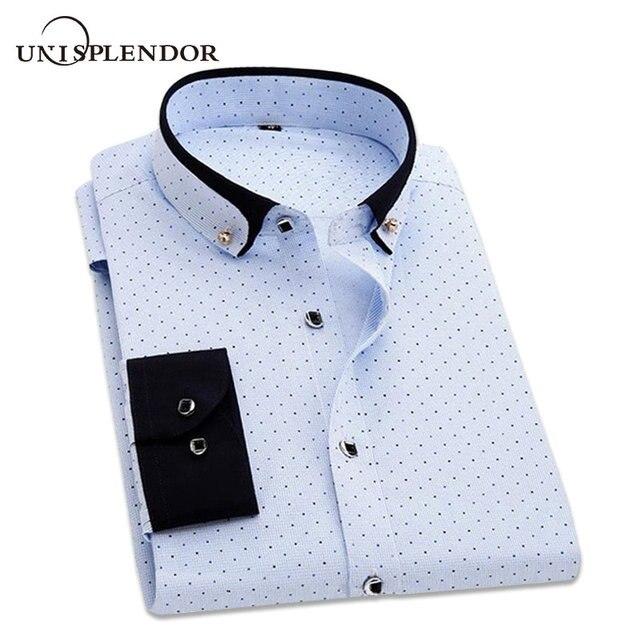 c2f2972ebb Camisa dos homens Moda Casual Floral Polka Dot Desgaste do Trabalho Vestido  de Noiva Homem Camisas