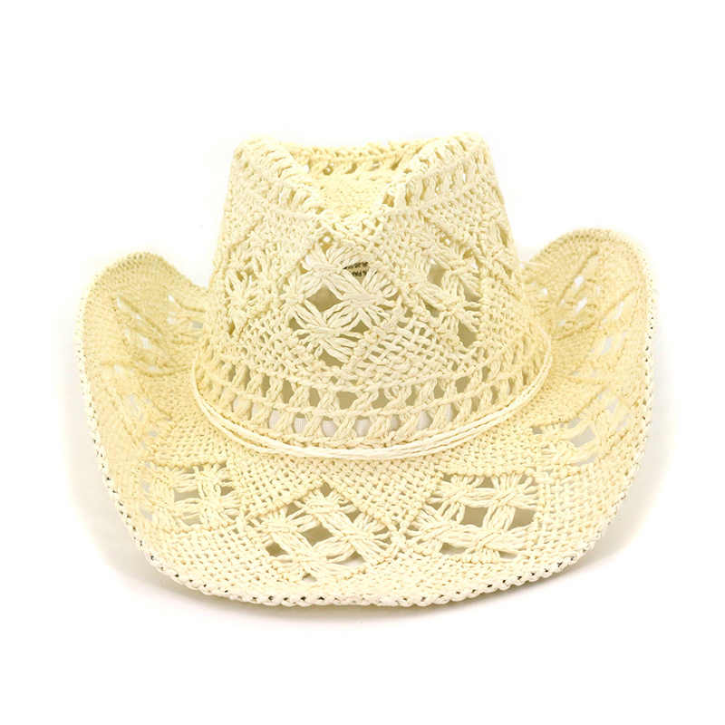 2b976dedb56b78 ... Summer Outdoor Men Women Western Cowboy Hats Hand-woven Straw Hat  Breathable Beach Jazz Cap ...