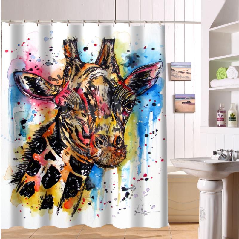 F516XY27 Custom The Giraffe And Colorful Hand Drawn Cartoon Animals Fabric  Modern Shower Curtain Bathroom Waterproof LF22 In Shower Curtains From Home  ...
