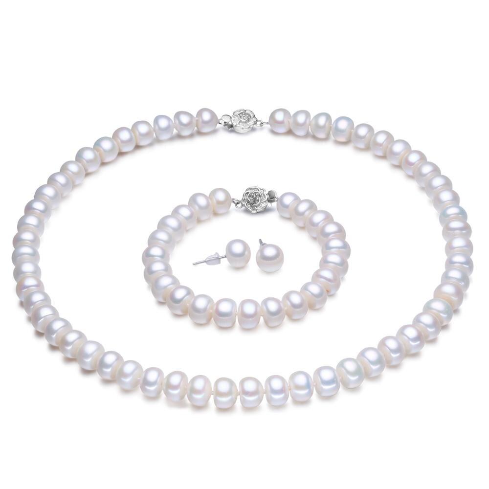 Mariage éternel femmes cadeau mot 925 argent Sterling réel naturel perle d'eau douce bijoux, trois ensembles de collier en argent, bracel