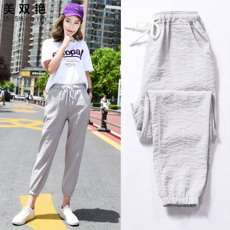 Summer Fitness Long Pants Female Leisure Soft Trousers For Women Drawstring Solid Color Casual Harem Pants Woman Jogger J24