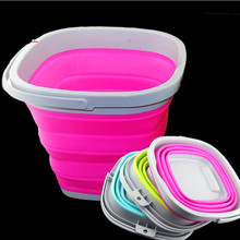 Bucket for Fishing Promotion New Freeshipping Multi <10l Folding Bucket Car Wash Outdoor Thick Silicone Fishing Supplies 5L