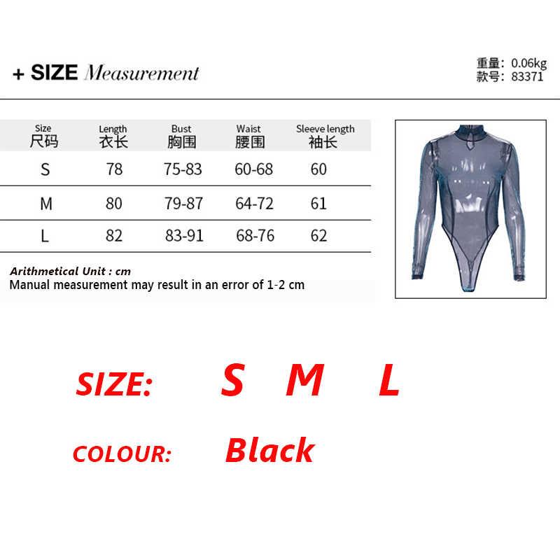 7 Манг 2019 летнее сексуальное прозрачное боди для женщин с длинным рукавом Прозрачная водолазка черный комбинезон блестящий костюм в сеточку 1228