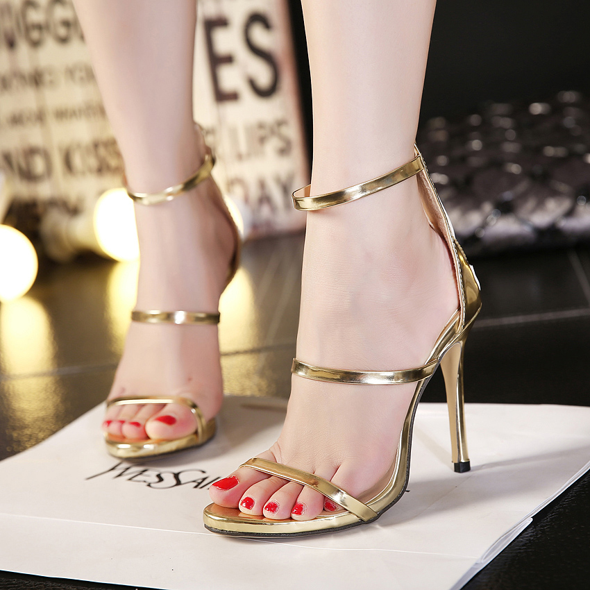 2016 Sale 0-3cm Sandals Women New Style Simple Plain Strappy Open Toe Mary Jane Stiletto Cut Out Pump High Heels