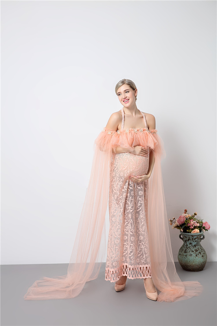 New Maternity Photography Props Pink Dresses Voile Maxi Dresses ...