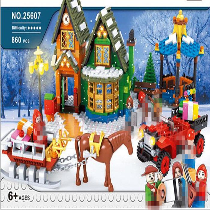 Lis Girl series 860pcs Winter Village Post Office City Advent Calendar Christmas Model Building Blocks Bricks Toy Compatible платье brusnika brusnika br032ewwsq23