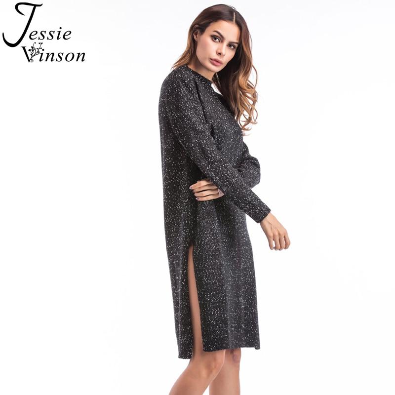 Jessie Vinson Women O-neck Long Sleeve Side Split Dot Knitted Dress Autumn Winter Loose Pullover Sweater Bottom Dress