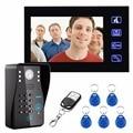 7-дюймовый цветной HD сенсорный экран проводной RFID пароль видео дверной звонок с ИК-камерой 200 м система дистанционного управления домофон