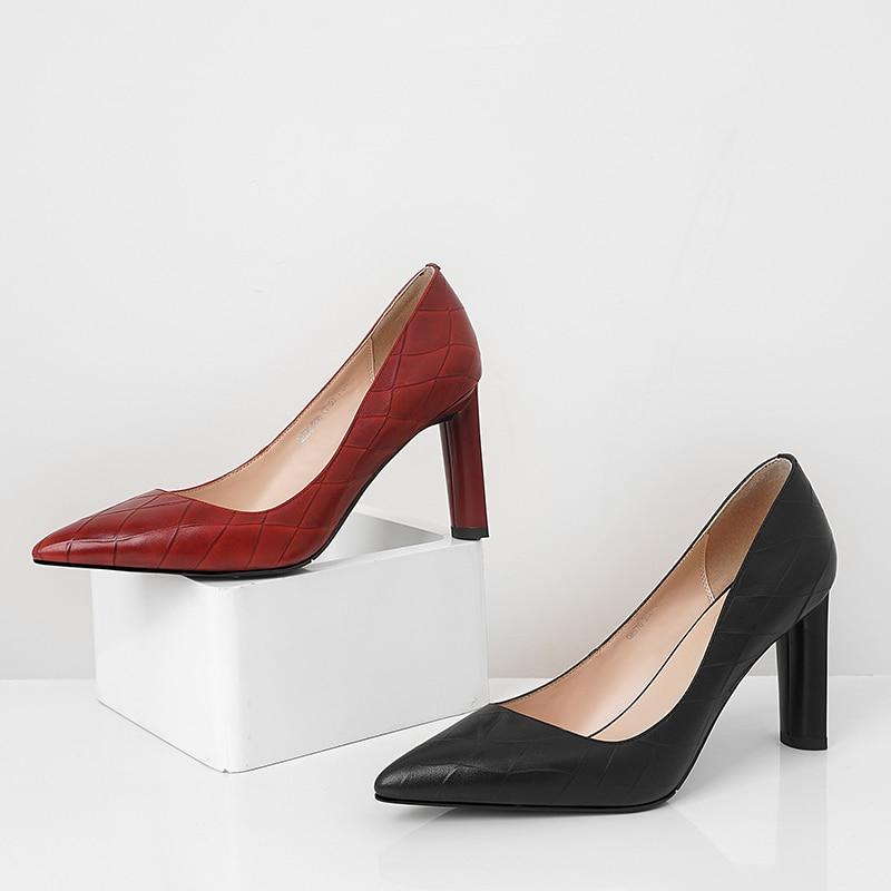 En Tinto Relieve Del Pie Negro Isnom Puntiagudo Superficial Mujer Cuero Vaca De vino Primavera Calzado 2019 Zapatos Oficina Moda Dedo Mujeres Las dgxqf1