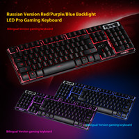 Mechanical Feel Keyboard 3 Colors Crack Illuminated LED Backlight USB Wired Multimedia PC Gaming Keyboard 20A Drop Shipping