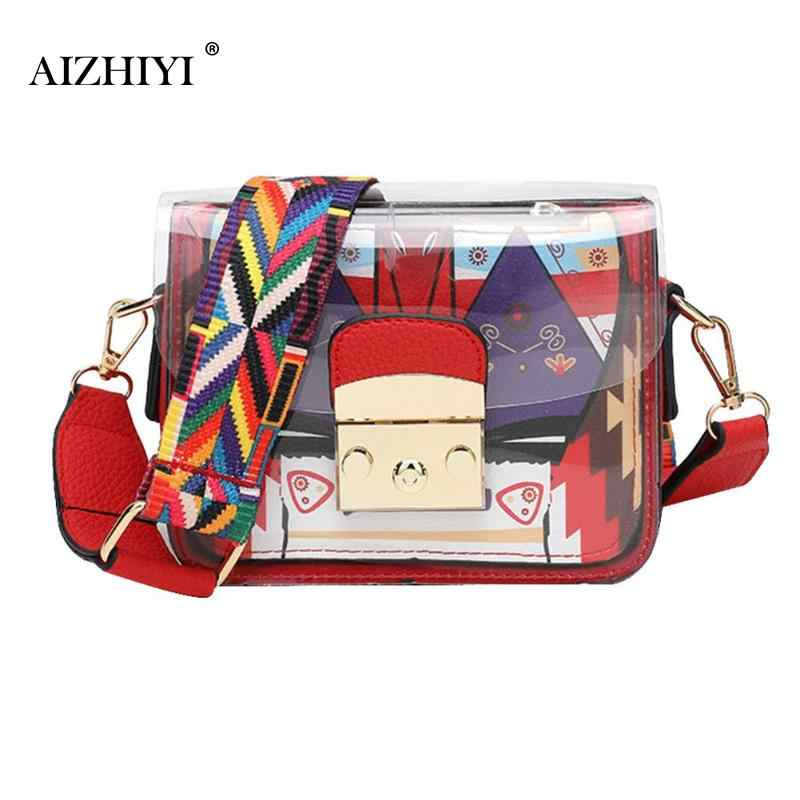Wanita Fashion Tali Lebar Messenger Gadis Bahu Messenger Tas Musim Panas Lucu Mini Jelly Shoulder Bag Bolsa Feminina 2018