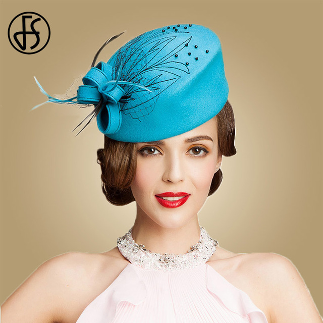 FS Fascinator Women 100% Australia Wool Pillbox Hat Sky Blue Ladies Formal  Felt Derby Church Hats Winter Flowers Wedding Femme 17013b3fdd3