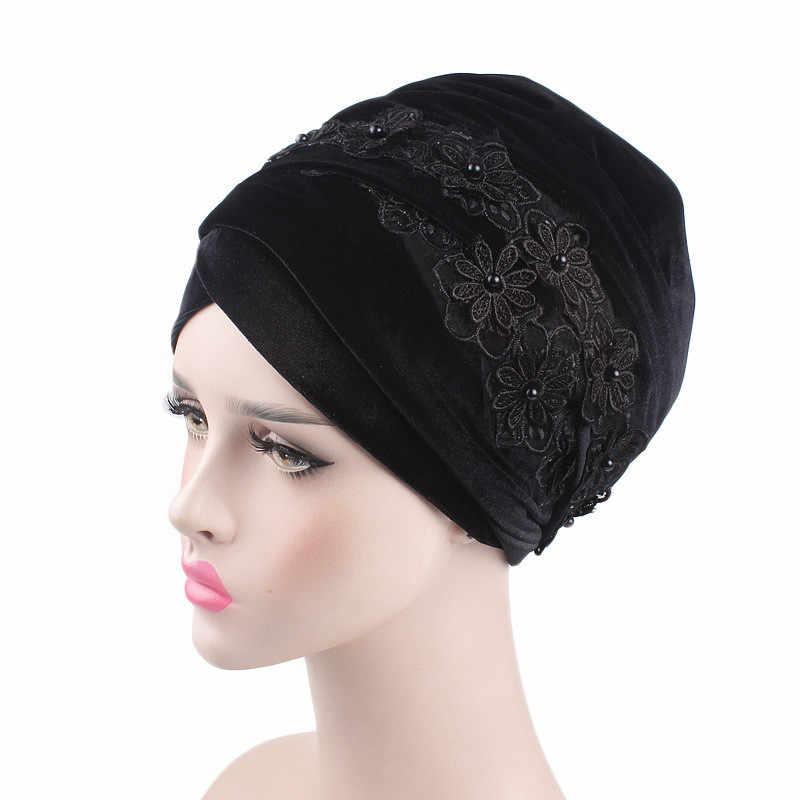 2018 модные женские туфли бархатные длинные голову 3D цветочный бисером мусульманин хиджаб Turbante тюрбан шарфы 170x26 см