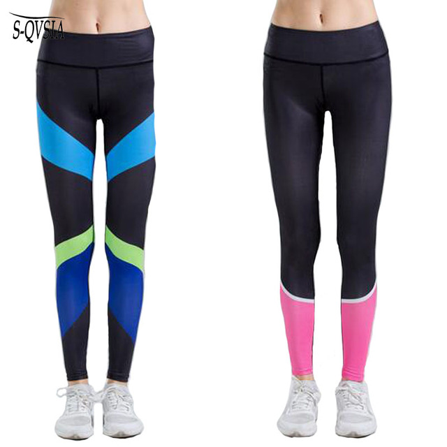 S-QVSIA 2016 Fitness Leggings Women Mid Waist Sexy Patchwork Quick Dry Leggings Skinny Push Up Mujer Fitness Leggings Pants