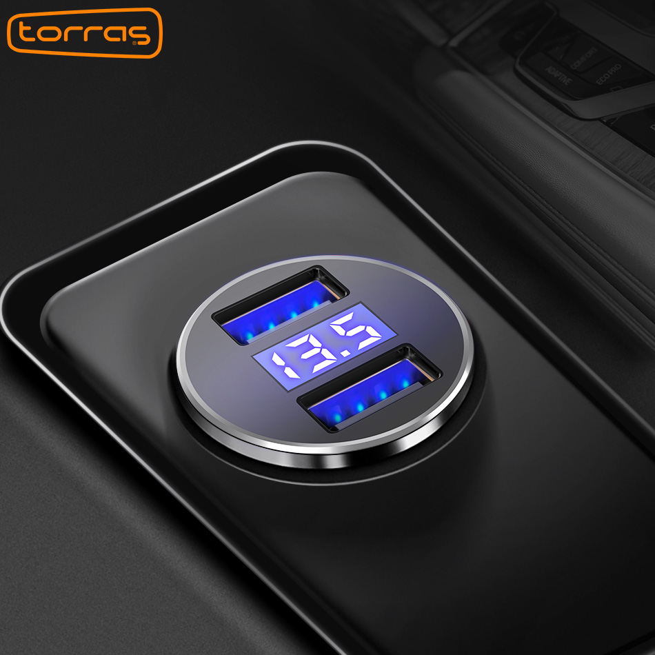 TORRAS Dual USB Car Charger Adapter Display LED 5V/3.4A Fast Charging Phone Charger For iPhone X 8 Plus Car Charger usb Fast LED