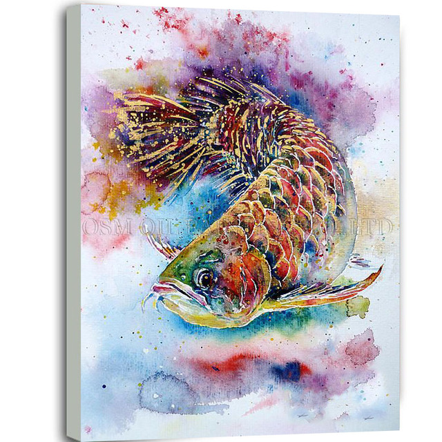 Top Artist Handmade High Quality Abstract Animal Dragonfish Oil Painting On Canvas Beautiful Colors Fish
