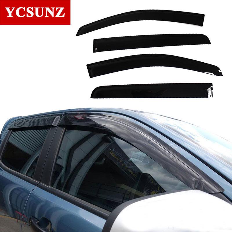Vstřikování Black Car Wind Visor Vent clona / Rain / Sun / Guard Deflektor okna pro Ford Ranger T6 T7 T8 25012-2019 double cab