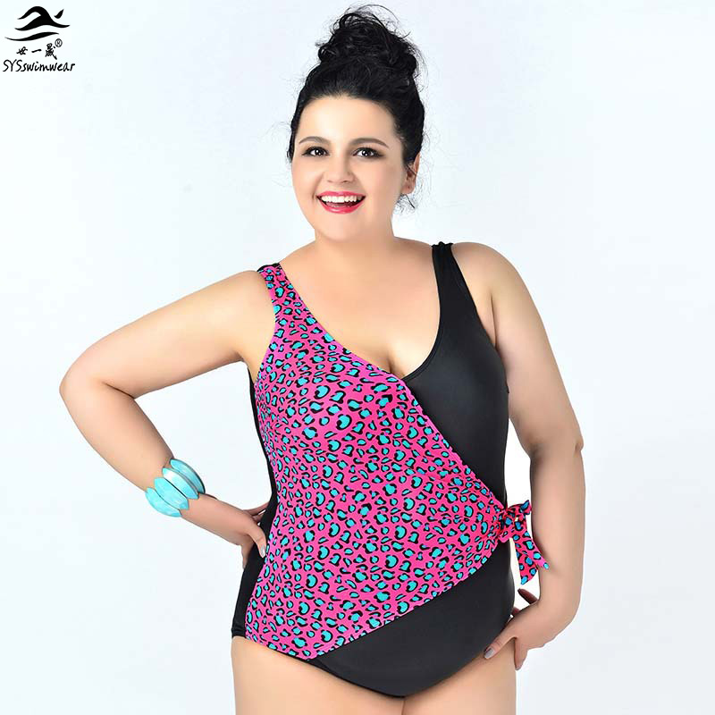 New Summer Big Lady Sexy One piece swimsuit Plus size Swimwear Leopard Patchwork swimwears Bodysuit Bathing suit