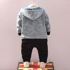 Image 3 - Эксклюзивная одежда для маленьких мальчиков, платье с капюшоном для мальчиков, джентльменский осенний костюм, Детская осенняя школьная одежда