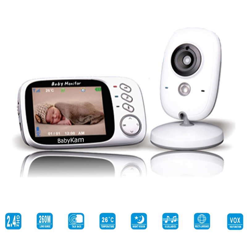 BabyKam 3.2 inch Color Wireless Baby Video Monitor 2 Way Talk Night Vision IR LED Baby Camera Monitor with 8 Lullabies