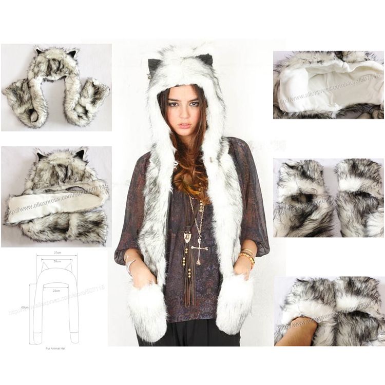 Free Shipping 1pc/Lot High Quality Crazy  Fox Precious Faux Fur Hood Animal Hat With Ear Flaps and Hand Pockets 3 in 1 Function 134 2khz rfid animal identification round pig ear tag for livestock animal tracking and indentification 500pcs lot good quality