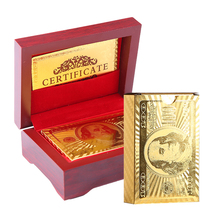 Подарочная деревянная коробка пакет золотого, серебряного цвета пластиковые игральные карты водостойкие прочный карты для покера из ПВХ 24 К покрытием золото фольга