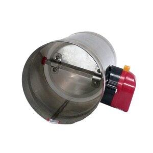 Image 4 - 80mm ze stali nierdzewnej przepustnica powietrza zawór HVAC elektryczny kanał zawór sterowany silnikiem 3 cal kanał wentylacyjny zawór zwrotny 220V 24V 12V