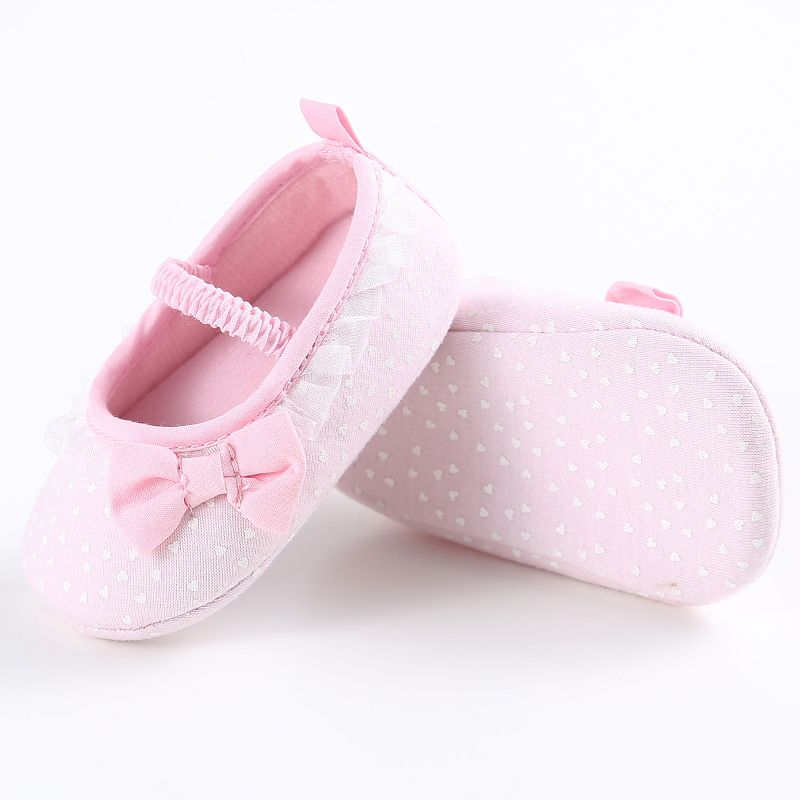 Style; Newborn White Bowknot Dot First Walker Baby Girl Lace Shoes Prewalker Anti-slip Simple Baby Shoes Fashionable In